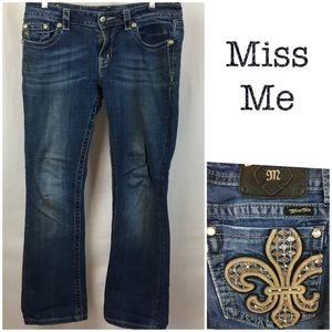 Miss Me Embellished Low Rise Boot Cut Jeans 30